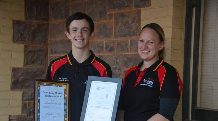 Andrew Hill winning Dame Roma Mitchell Scholarship, with Kelly Kimber.jpg