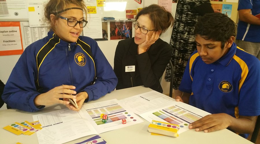 Alliyah Newell-Ewen (Yr11) and Justin Bonney (Yr10) with Elisa McGowan, Manager, Equity Outreach Programs from UWA.jpeg